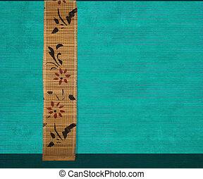 Flower bamboo banner on aquamarine wood