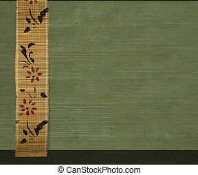 Flower bamboo banner on olive ribbed wood background -...