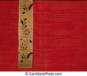 Flower bamboo banner on red background