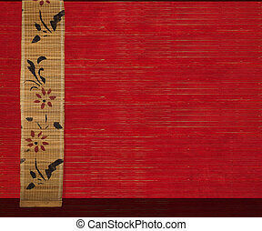 Flower Bamboo Banner on Red Ribbed Wood Background