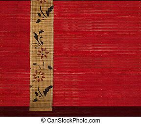 flower bamboo banner on red ribbed wood background 2