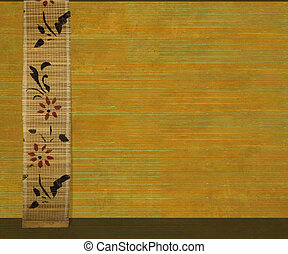 Flower Bamboo Banner on Yellow Ribbed Wood Background