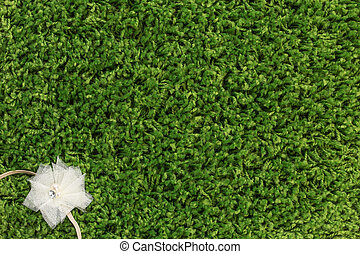Flower band on green grass background