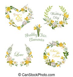 Flower Banners and Tags. Floral Wreath. Vector Set.