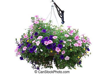 Flower basket isolated on white