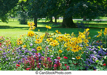 flower bed and lawn