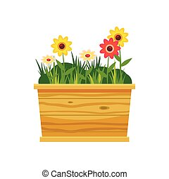 Flower bed icon, cartoon style - Flower bed icon in cartoon...