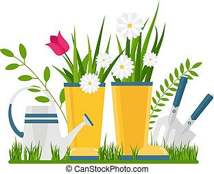 Flower bed in the front garden. Rustic or rural landscape, garden and vegetable garden. Flat vector illustration.