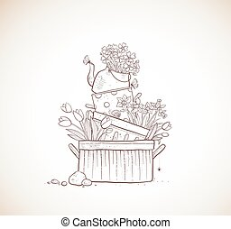 Flower bed made of old cooking pots and kettle. Doodle garden decoration in vintage style.