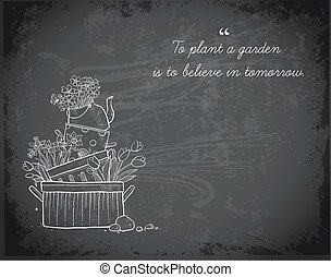 Flower bed made of old cooking pots and kettle. Doodle garden decoration on blackboard background