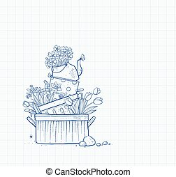 Flower bed made of old cooking pots and kettle. Doodle garden decoration on lined paper background.
