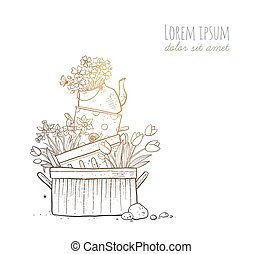 Flower bed made of old cooking pots and kettle on white background. Doodle garden decoration.