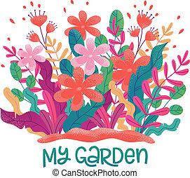 Flower bed, colorful plants. Gardening concept vector illustration