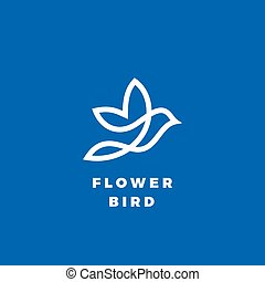 Flower Bird Abstract Vector Icon, Label or Logo Template. Line Style Silhouette. White on Blue Background