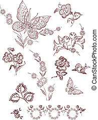 Flower Bird Butterfly Elements