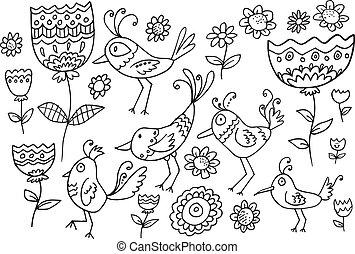 Flower Bird Doodle Vector Set