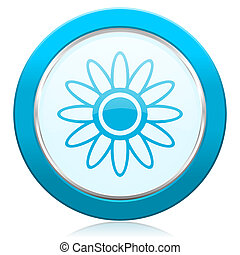 Flower blue chrome silver metallic border web icon. Round button for internet and mobile phone application designers.