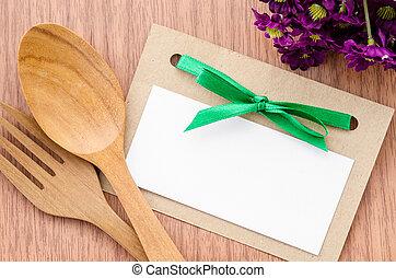 flower., bois, papier, cuillère, étiquette, vide