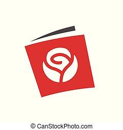 Flower book logo, book with rose flower symbol, vector icon design