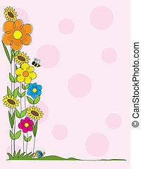 Flower Border - A spring garden scene as a border on a pink ...
