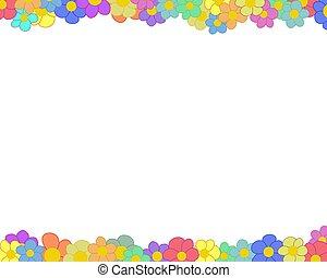 Flower border - Illustration of a flower border on a white ...