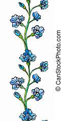 Flower border seamless pattern - Watercolour blue flower ...