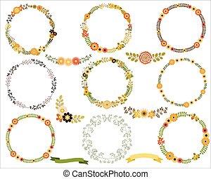 Flower borders and frame wreaths