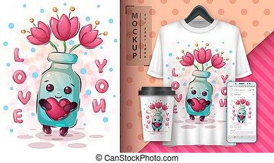 Flower bottle poster and merchandising