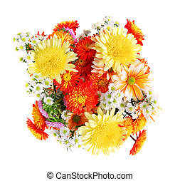 Flower bouquet - Bouquet of flowers, top view, isolated on...