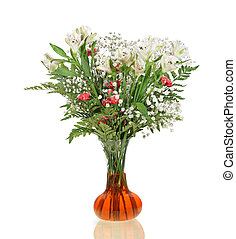 Flower Bouquet - Carnation, lily, baby\\\'s breath flower...