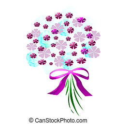 flower bouquet -  flower bouquet with pink ribbon on white