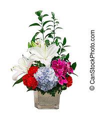 Flower bouquet - close up bouquet of lily - hydrangea -...