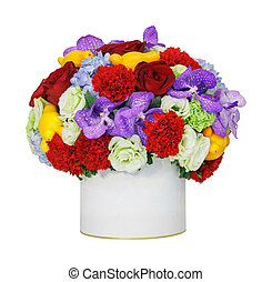 Flower bouquet - Close up carnation rose orchid vanda flower...