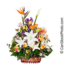 Flower bouquet - Close up lily - rose - berry - alstroemeria...