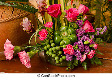 Flower bouquet - Colorful flower bouquet arrangement in vase...
