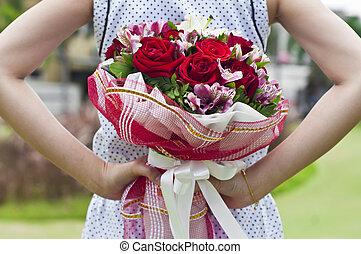 Flower bouquet. - Flower bouquet in woman hands.