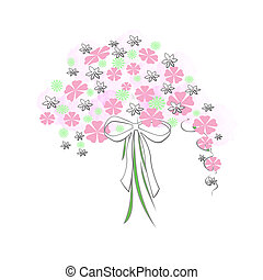 flower bouquet - flowers and bow bouquet on white background