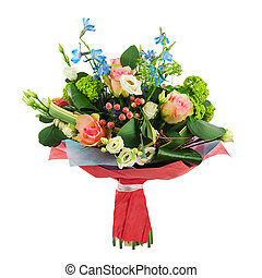 Flower bouquet from multi colored roses, iris and other...