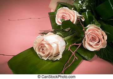 flower bouquet from pink roses