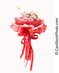 bouquet from pink roses with red ribbon