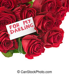 Flower Bouquet from Red Roses and Greeting Card Isolated.
