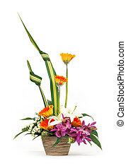 Flower bouquet in ceramic pot - Close up flower bouquet in...