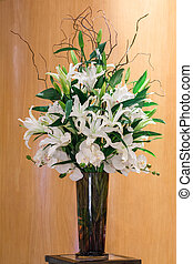Flower bouquet in glass vase - Bouquet of white color lily...