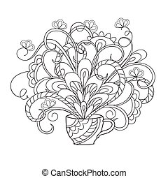 flower bouquet in the cup - Hand drawn doodle composition ...