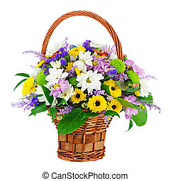 Flower bouquet in wicker basket isolated on white...