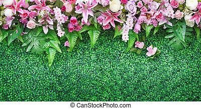 flower bouquet on green field