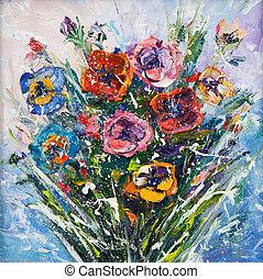 Flower bouquet - Original oil painting of beautiful vase or ...