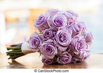 Flower bouquet - Purple rose bouquet for the bride on her...