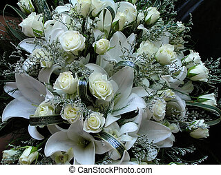 Flower Bouquet - white roses and lilies flower bouquet