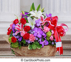 Flower bouquet - Basket of flowers with namecard tag